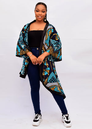 Load image into Gallery viewer, MERCY AFRICAN PRINT ANKARA ASYMMETRIC KIMONO JACKET - DESIRE1709