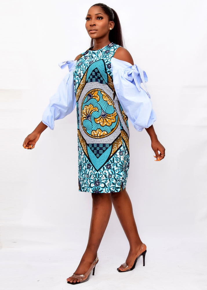 Load image into Gallery viewer, ZUMA AFRICAN PRINT ANKARA COLD SHOULDER SHIFT DRESS - DESIRE1709
