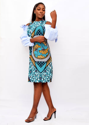 ZUMA AFRICAN PRINT ANKARA COLD SHOULDER SHIFT DRESS - DESIRE1709