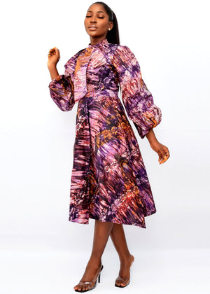 ABIOYE AFRICAN PRINT ADIRE CO-ORD SET (PURPLE) - DESIRE1709