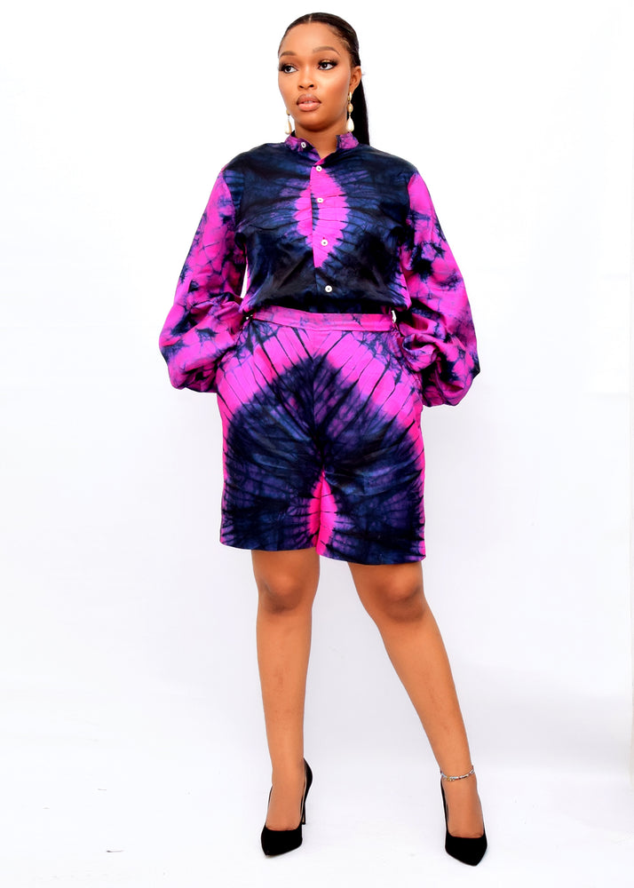 Load image into Gallery viewer, OLAMIDE AFRICAN PRINT SILK ADIRE CO-ORD SET - DESIRE1709