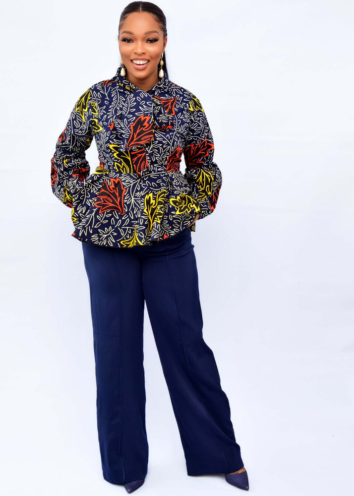 Load image into Gallery viewer, AISHA AFRICAN PRINT ANKARA TIE NECK TOP - DESIRE1709