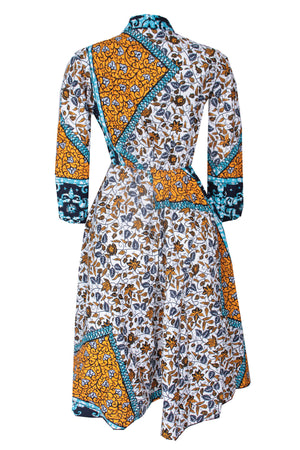 LABAKE AFRICAN PRINT ANKARA MIDI DRESS WITH TIE NECK(YELLOW)