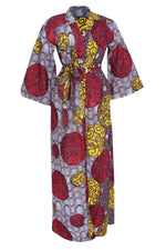 KACHI AFRICAN PRINT BELL SLEEVE KIMONO WITH BELT