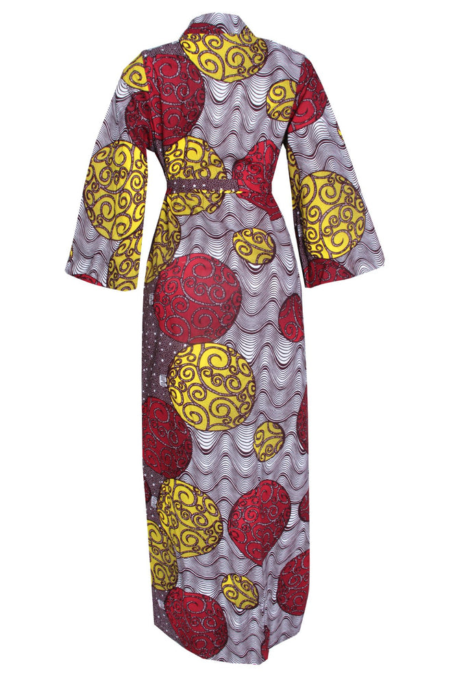 KACHI AFRICAN PRINT BELL SLEEVE KIMONO WITH BELT - DESIRE1709