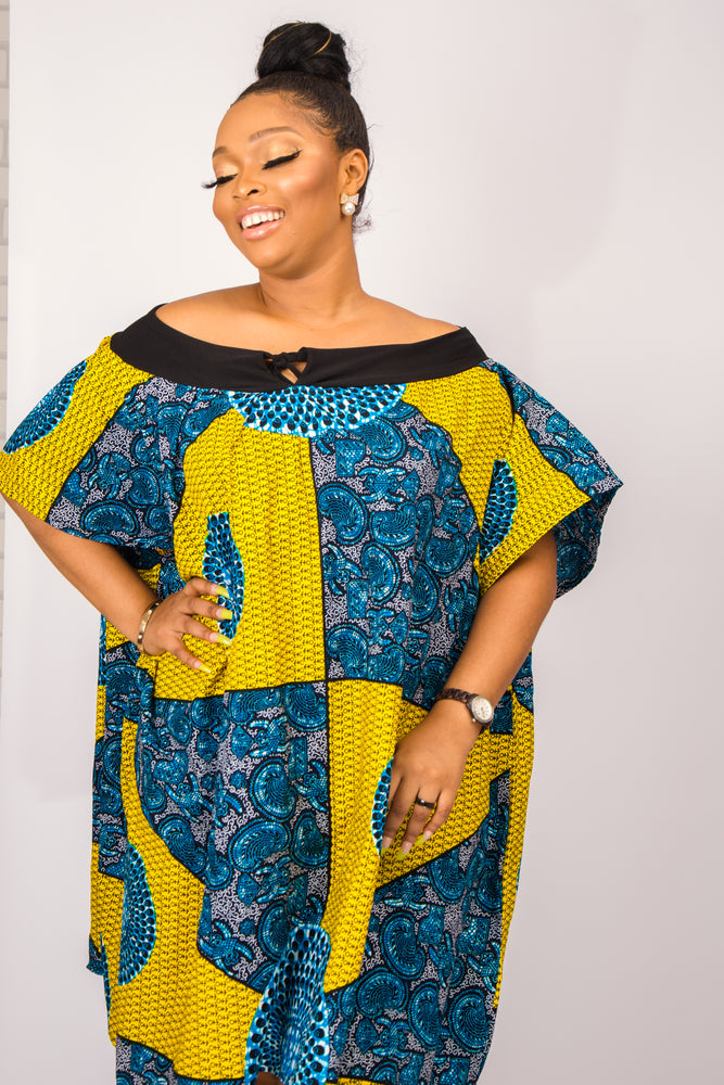 Load image into Gallery viewer, NABILA AFRICAN PRINT ANKARA OFF SHOULDER DRESS - DESIRE1709