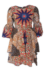 BINTA AFRICAN PRINT STAR PATTERNED DRESS