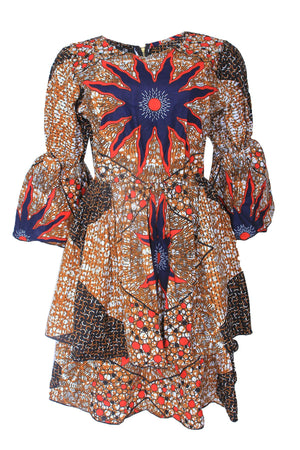 BINTA AFRICAN PRINT STAR PATTERNED DRESS - DESIRE1709