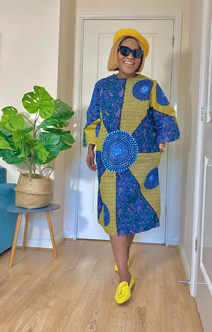 Load image into Gallery viewer, LILIAN AFRICAN PRINT ANKARA SHIFT DRESS - DESIRE1709