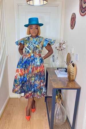 Load image into Gallery viewer, KEMI AFRICAN PRINT ADIRE SKATER DRESS - DESIRE1709