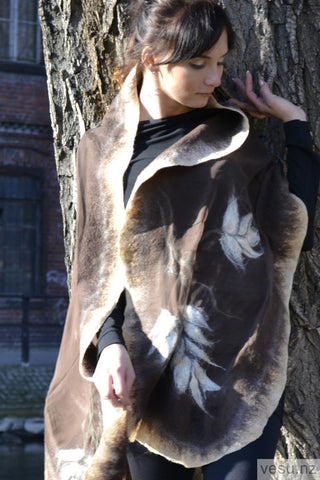 Brown and beige Silk Shawl with merino wool 4309