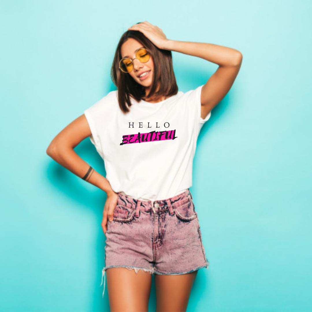 Boss / Hello Beautiful Ladies Tee White w/ Large Logo