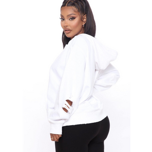 Melanin Beauty Distressed Hoodie (White)
