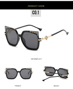 New Cat Eye Sunglasses Women Luxury Brand Designer Vintage Rivet Eyewear Female Fashion Oversized Square Sun Glasses UV400 Gafas