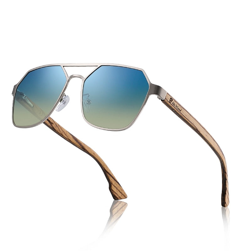 Beau's Bamboo Wooden Mirror Polarized Sunglasses