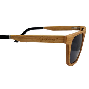Cherry Wood with Dark lenses Flat Top Sunglasses - (55mm Lenses) Size Large