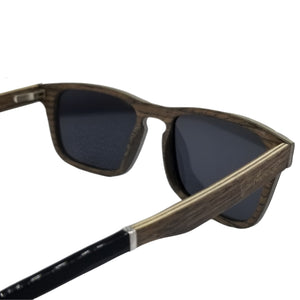 Black Oak + Aluminum Flat Top Wood Sunglasses - (54mm lenses) Size Medium - southernmostshades.com
