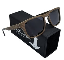Load image into Gallery viewer, Black Oak + Aluminum Flat Top Wood Sunglasses - (54mm lenses) Size Medium - southernmostshades.com