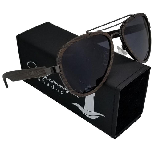 Black Oak Aviators with Dark Lenses - (55 mm Lenses) Size Large - southernmostshades.com