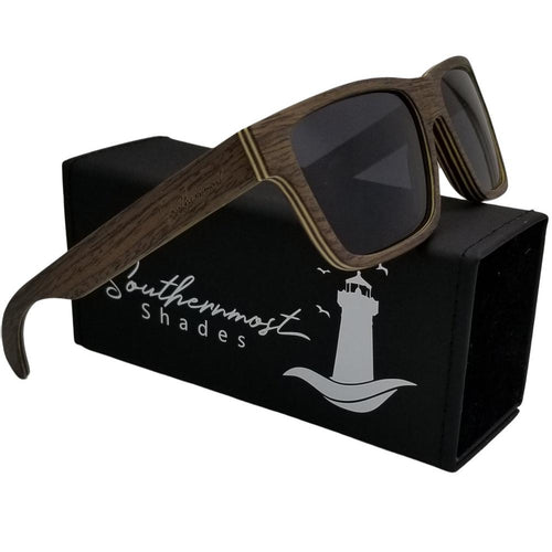 Black Oak Square Frame Wood Sunglasses - (56mm Lenses) Size Large - southernmostshades.com