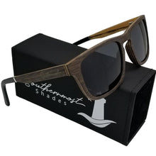 Load image into Gallery viewer, Black Oak with Zebra Wood Flat Top Sunglasses - (54mm lenses) Size Medium - southernmostshades.com