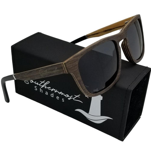 Black Oak with Zebra Wood Flat Top Sunglasses - (54mm lenses) Size Medium - southernmostshades.com