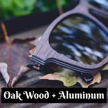 Load image into Gallery viewer, Black Oak Wood Sunglasses with Aluminum Layering - (54mm lenses) Size Medium - southernmostshades.com