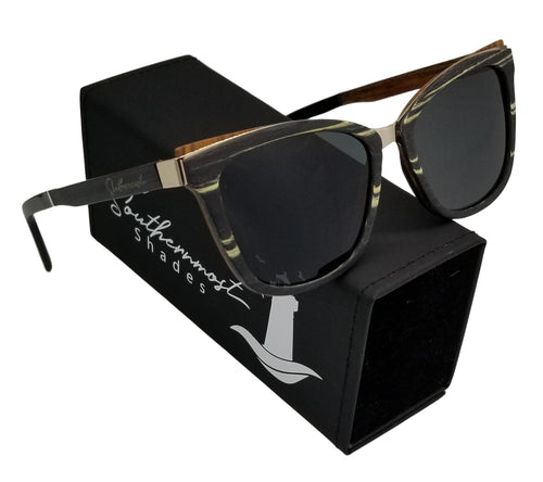 Black Zebra & Walnut Wood Cateye Sunglasses - (51mm lenses) Size Small - southernmostshades.com