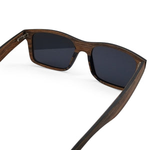 Brown Wood Flat Front Sunglasses with Dark Lenses - (54mm Lenses) Size Large - southernmostshades.com