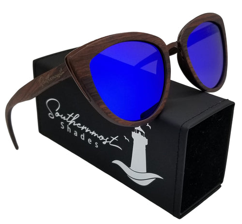 Cateye Sandalwood Frame Sunglasses- (53mm Lenses) Size Large - southernmostshades.com