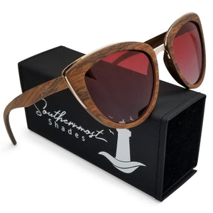 Cateye Sandalwood Frame Sunglasses with Red Lenses - (53mm Lenses) Size Large - southernmostshades.com