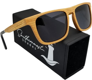 Cherry Wood with Dark lenses Flat Top Sunglasses - (55mm Lenses) Size Large - southernmostshades.com