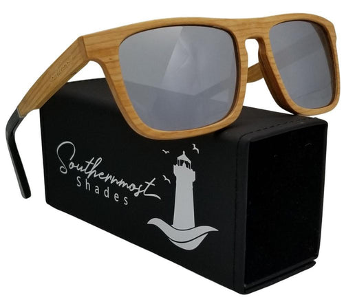 Cherry Wood with Silver lenses Flat Top Sunglasses - (55mm Lenses) Size Large - southernmostshades.com