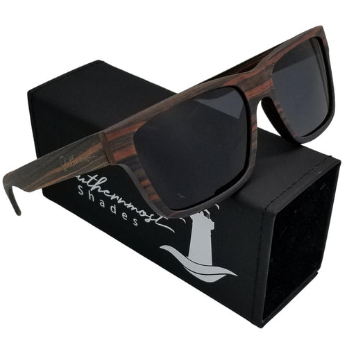 Ebony Square Frame Wood Sunglasses - (56mm Lenses) Size Large - southernmostshades.com