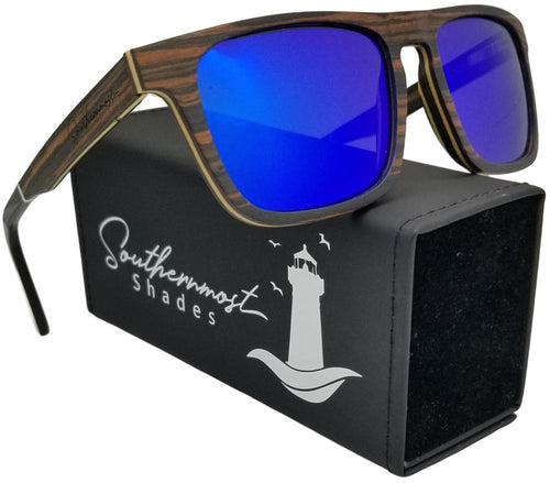 Ebony Wood with Blue Mirror Flat Top Sunglasses - (55mm Lenses) Size Large - southernmostshades.com