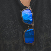 Load image into Gallery viewer, Ebony Wood with Blue Mirror Flat Top Sunglasses - (55mm Lenses) Size Large - southernmostshades.com