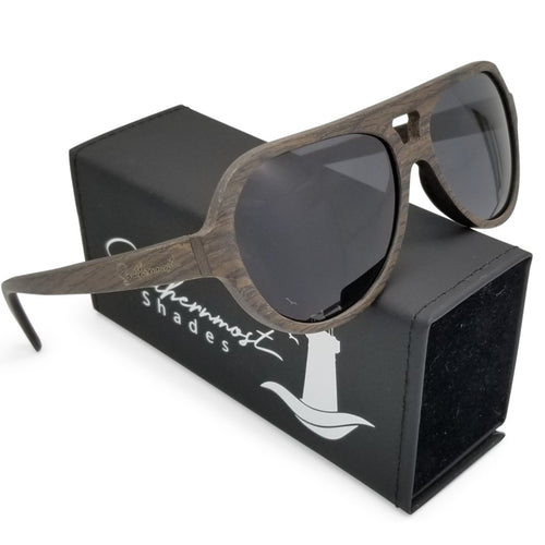 Full Wood Aviators - Walnut Wood with Dark Lenses - (55mm lenses) Size Medium - southernmostshades.com