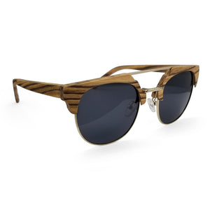 Half Frame Zebra Wood Sunglasses & Gold Metal Frame - (50mm Lenses) Size Medium - southernmostshades.com