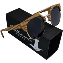 Load image into Gallery viewer, Half Frame Zebra Wood Sunglasses & Gold Metal Frame - (50mm Lenses) Size Medium - southernmostshades.com