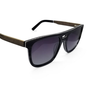 Hybrid Aviators with Walnut Arms & Gradient Lenses - (54 mm Lenses) Size Medium - southernmostshades.com