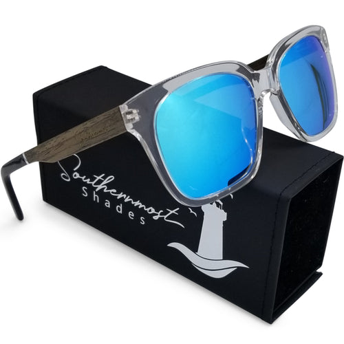 Hybrid Clear Shades with Walnut Arms & Ice Blue Lenses - (54 mm Lenses) Size Large - southernmostshades.com