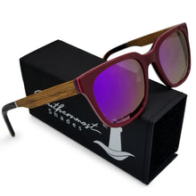 Load image into Gallery viewer, Hybrid Red Shades with Walnut Arms & Purple Lenses - (54 mm Lenses) Size Large - southernmostshades.com