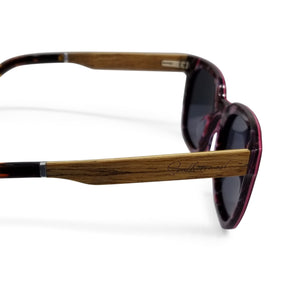 Hybrid Red Shades with Walnut Arms & Purple Lenses - (54 mm Lenses) Size Large - southernmostshades.com