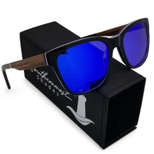 Load image into Gallery viewer, Hybrid Sunglasses with Teak Arms & Blue Mirror Lenses - (54 mm Lenses) Size Medium - southernmostshades.com