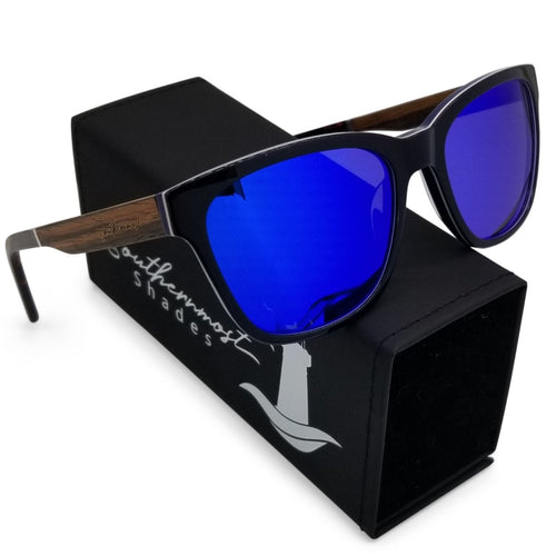 Hybrid Sunglasses with Teak Arms & Blue Mirror Lenses - (54 mm Lenses) Size Medium - southernmostshades.com