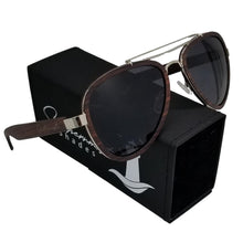 Load image into Gallery viewer, Sandalwood Aviators with Dark Lenses - (55 mm Lenses) Size Large - southernmostshades.com