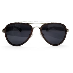 Sandalwood Aviators with Dark Lenses - (55 mm Lenses) Size Large - southernmostshades.com