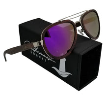 Load image into Gallery viewer, Sandalwood Aviators with Purple Lenses - (54 mm Lenses) Size Medium - southernmostshades.com