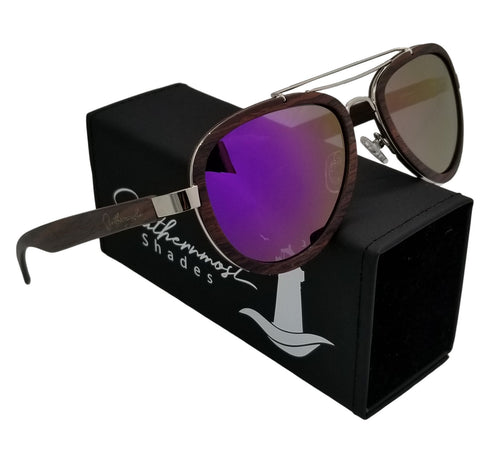 Sandalwood Aviators with Purple Lenses - (54 mm Lenses) Size Medium - southernmostshades.com