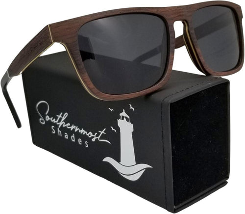 SandalWood with Dark lenses Flat Top Sunglasses - (55mm Lenses) Size Large - southernmostshades.com